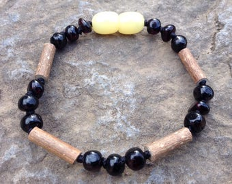 Baltic Amber & Hazelwood bracelet - 6 inches - pain relief - relieve digestive and skin issues