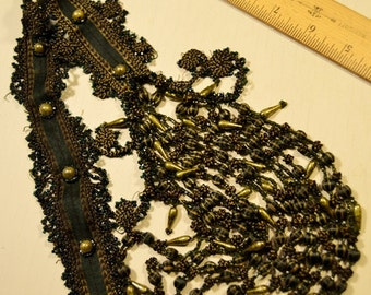 "Antique Vintage Green and Gold Beaded Long Dress Applique 1800s 26"" Long Victorian Downton Abby Steampunk Repurpose"
