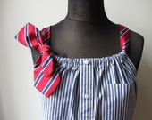 Blue and White Striped Shirt, Tank Top Women, Boyfriend Shirt, Upcycled Shirt, Tunic Tops for Women, Pinstripe Blouse, Refashioned Clothing