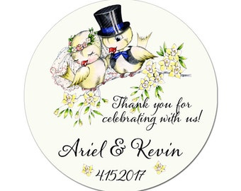 Bride and Groom Sweet Vintage Birds Custom Wedding Labels Personalized Round Glossy Designer Stickers - Quantity 100