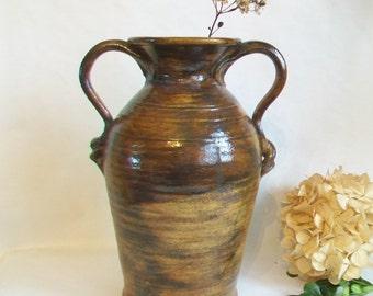 Urn   -- Mottled Chocolate Brown Glaze