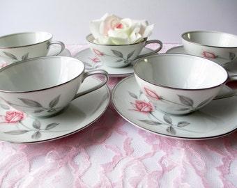 Vintage Noritake Teacups and Saucers Rosemarie Pink Rose Set of Five