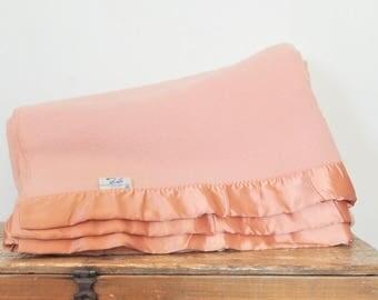 """Vintage Pink Wool Blanket Faribo Wool Salmon Peach Pink 100% Pure Woolen Blanket 80"""" by 89"""""""