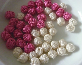 Moroccan art silk  beads/buttons,handmade, flowers rosebud cream and pink wedding  collection, set of 50