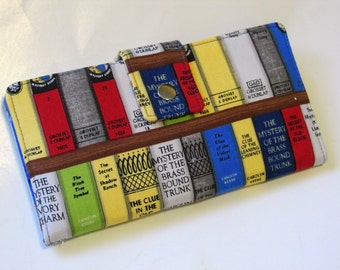 Last one - Handmade women long clutch wallet - Mystery books to get a clue - Nancy Drew - OOAK - Red version - Gift for her - ready to ship