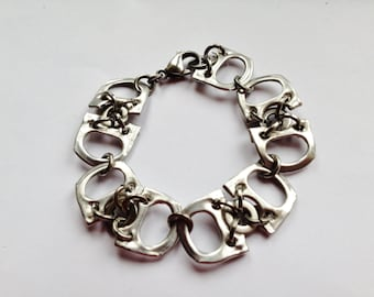 Lightweight Chain Bracelet, Silver Aluminium and Stainless Steel Bracelet, Recycled, Original, Unique, Unisex Bracelet