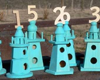 Table Numbers, Set of 7, Turquoise, Aqua, Shabby Chic, Lighthouse, wooden Birdhouses with numbers 1 through 7