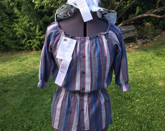 SALE Tunic Top Blouse Striped UPCYCLED