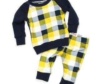 Baby Sweatshirt and Leggings Set - Baby Boy Outfit - Take Home Outfit - Baby Leggings - Navy Yellow Plaid