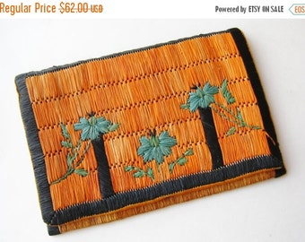 HOLIDAY SALE Vintage 30s Art Deco French Woven Raffia Handbag Clutch Purse
