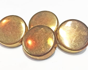 Copper Tone Vintage Buttons - Solid Metal Buttons -Sewing Buttons - Chunky Shank Buttons - Craft and Jewelry Supplies - B 53 - 4 Buttons