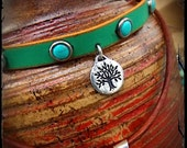 TURQUOISE choker with TREE of Life charm Green Leather collar Southwestern jewelry Studded Choker Bohemian Boho Yoga Festival jewelry GPyoga