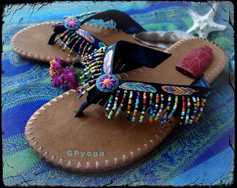 FEATHER Black flip flops US size 7-8 Beaded Leather Fringe sandals Hand painted Colorful shoes Bohemian Summer Girls Womens Fashion GPyoga
