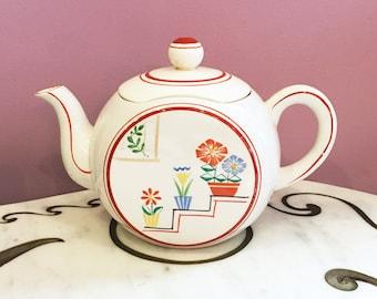 Vintage 40s 50s Ceramic Flower Pots Teapot