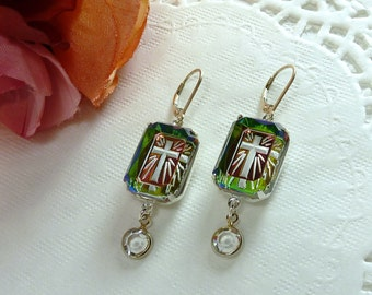Rainbow Cross Vintage Rhinestone Silver Dangle Earrings