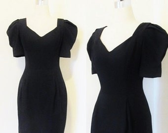 40% OFF SALE Vintage 1980's Black Holiday Party Dress / Formal Hourglass Fitted Figure Cocktail Dress