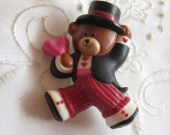 Vintage Hallmark Plastic Tuxedoed Brown Bear Valentine Pin