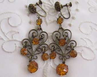 Vintage Dark Gold Tone Dangle Style Screw Back Earrings with Faux Gold Topaz Faceted Rhinestones
