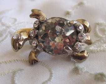 Vintage Gold/Silver Tone Turtle Pin with Large and Small Clear Rhinestones