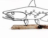 Trout Wire Sculpture, Fish Wire Art, Minimal Wire Design, 481337964