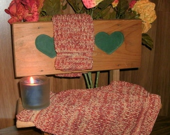 Two Large Pre-shrunk 100 percent Cotton Machine knit Dish Cloths...11 inches X 12 inches done in fall colors