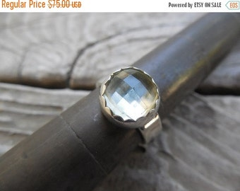 ON SALE Green amethyst ring in sterling silver