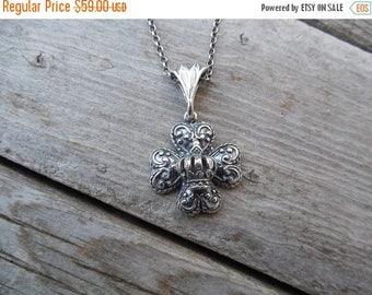 ON SALE Heart cross handmade in sterling silver