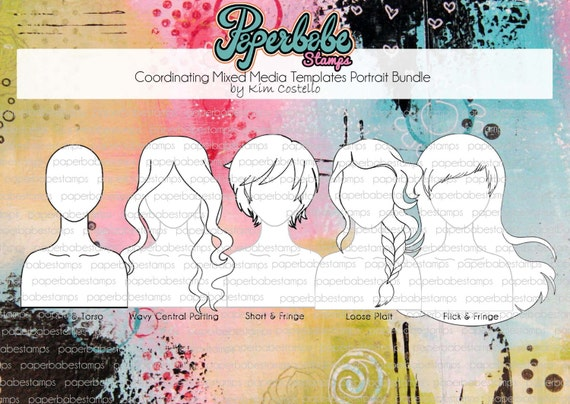 Mixed Media Templates ~ Portrait Face Bundle - Paperbabe Stamps - Mylar templates - For mixed media, paper crafting and scrapbooking.