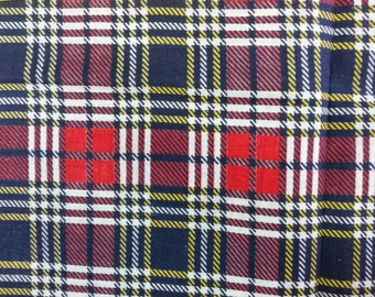 "Vintage Fabric 1970's - Blue Red White Plaid - Material - 39"" Cotton"