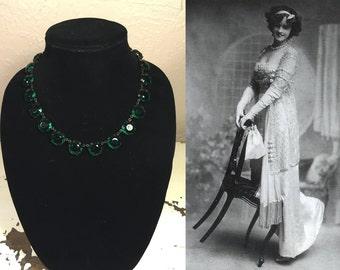 Gertie Millar Countess of Dudley - Vintage 1910s Edwardian Czech Green Beveled Glass Necklace