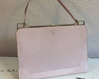 I Shall Be Most Elegant - Vintage 1950s Johansen Shell Pink Nubuck & Pearlized Leather Handbag