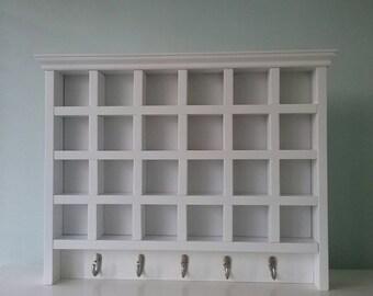 Large Shadow Box, Handmade White Stain, Wall Display, Wall Shelf, Small Collectible Wall Display, Handmade Shadowbox, Hooks, Key Hooks