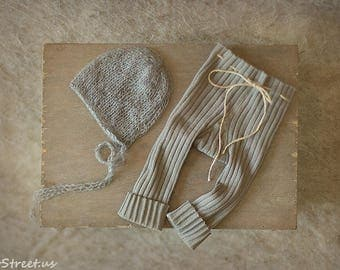 Baby Warm Gray Pants and Hat Set, Gray Mohair Bonnet, Baby Boy Hat Set, Baby Hat, Photo Prop, Newborn Props, RTS, Baby Props