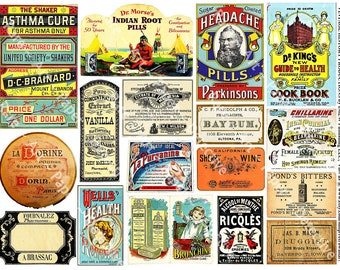 Pharmacy Labels Printed Sticker Pack Antique Apothecary Bottle Collage Art Papers Druggist Labels Clip Art Scrapbook Stickers ClipArt, 300d