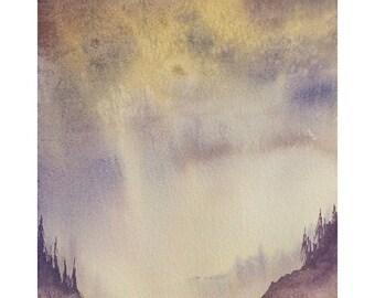 Original Watercolor Painting Landscape Painting PNW Painting Oregon Art Original Watercolor of Oregon Landscape 8x10 painting Landscape Art