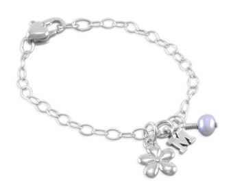 Flower Girl Bracelet, Charm Bracelets, Sterling Silver, lavender pearl initial, monogram personalize, wedding, gifts, purple, niece kids MIA