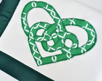 Organic Baby Blanket with Celtic Knot Hearts -- Green