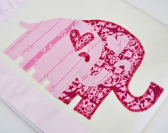 Organic Baby Girl Blanket with Elephants -- Pink -- Free Personalization