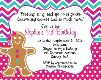 10 Gingerbread Cookie Invitation with Envelopes and FREE Return Address Labels