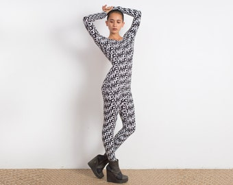C*nt Print Catsuit - C*nt - Black and White Catsuit -  Festival Style - Long Sleeve Leotard - Onesie