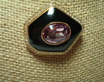 Vintage CINER Black Enameled with Pink Tourmaline Like Stone and Swarovski Crystals.