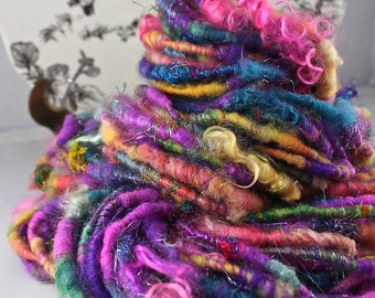 Handspun Art Yarn Corespun Super Bulky Sheeping Beauties  'Mama Mia'