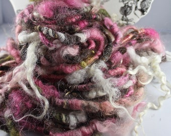 Handspun Art Yarn Corespun Fleecespun  Sheeping Beauties 'The Time is Now'