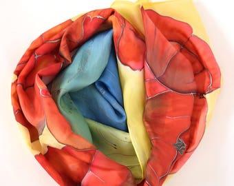 Red poppy silk scarf, rainbow scarf, poppies scarves