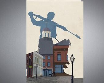 New Bedford, Massachusetts Retro styled Travel Poster