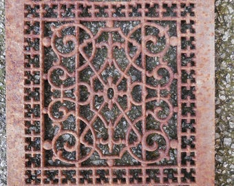 Antique Cast iron Grate Floor Wall  Architectural salvage Nouveau Victorian Gothic Decorative restoration hardware supplies  12 x 14