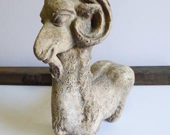 Vintage ram statue Stone Goat Pottery whimsical Rustic animal figurine