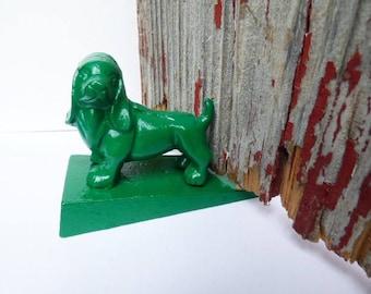 Cast iron Dog doorstop Door Wedge green door stop hound dog puppy