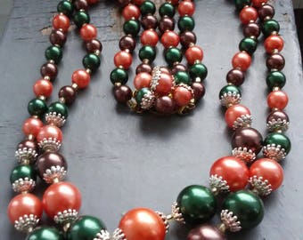 Ambrosial - fancy vintage 50s filigree capped spiced pumpkin orange, forrest green, earth toned pearl beads, fancy clasp multistrand necklac