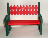 Christmas Bench, Doll Bench, Display Bench, Hand Painted, Decorated Bench, Wooden Bench, Red and Green, Holiday Bench, Hearts Deer Bench
